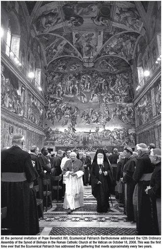 Pope Benedict and Patriarch Bartholomew at the Sistine Chapel at the Vatican
